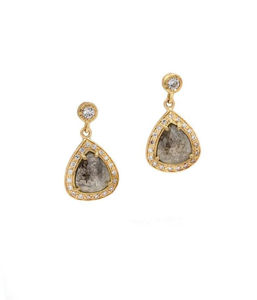 18k Grey Pear Diamond Halo Drop Earrings - LoveAudryRose.com