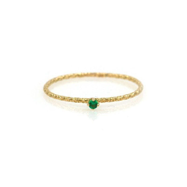 18k Tiny Twisted Emerald Ring - LoveAudryRose.com