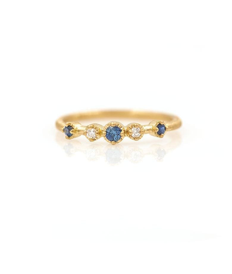 18k Five Bezel Sapphire and Diamond Ring