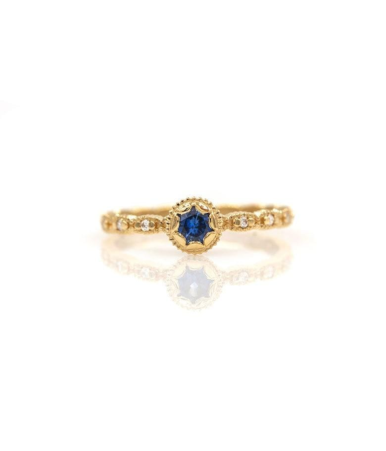 18k Scalloped Blue Sapphire Diamond Ring