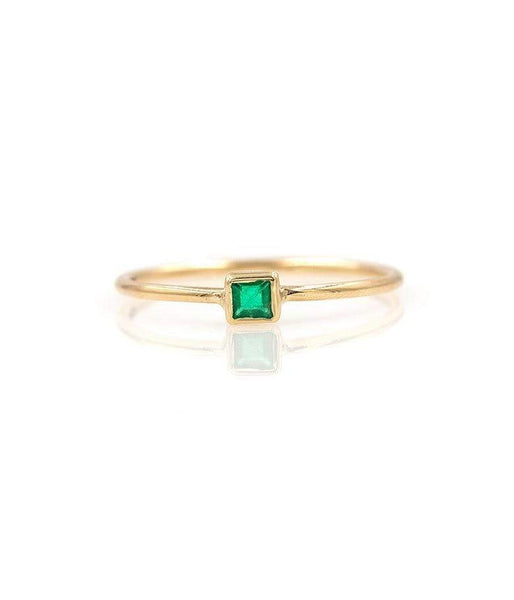 Square Emerald Solitaire Ring* - LoveAudryRose.com