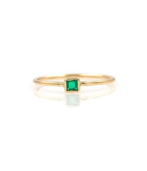 Square Emerald Solitaire Ring