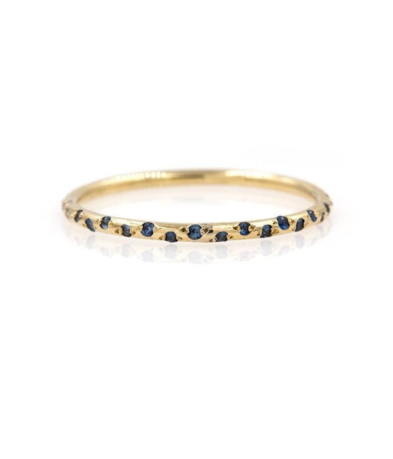 Thin Starry Sapphire Half Eternity Band