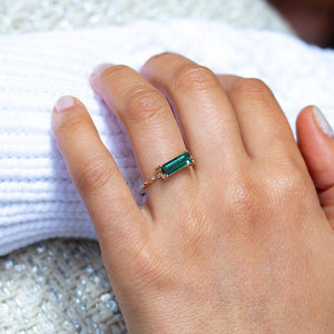 Starry East-West Tourmaline Diamond Ring