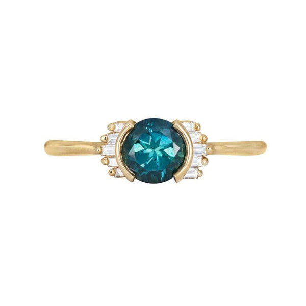 Teal Sapphire Baguette Ring