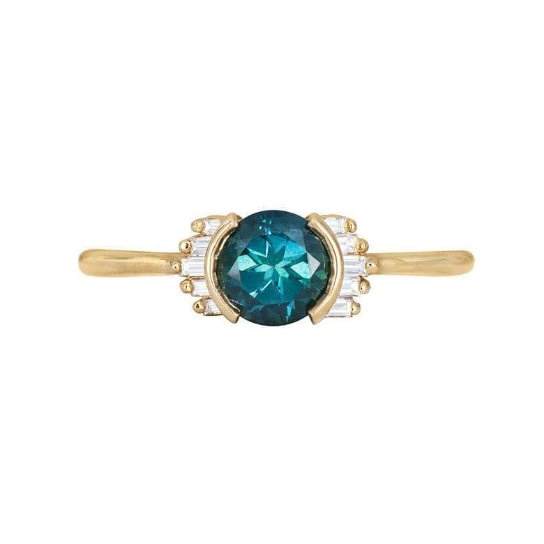 Teal Sapphire Baguette Ring* - LoveAudryRose.com