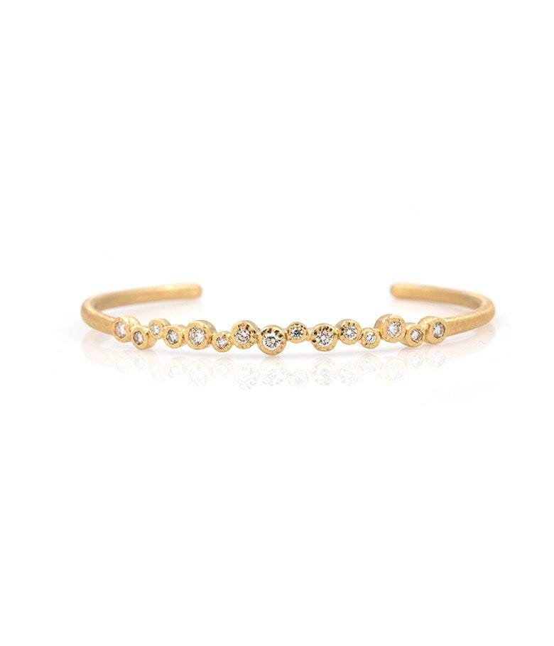 18k Twinkling Bezel Diamond Cuff