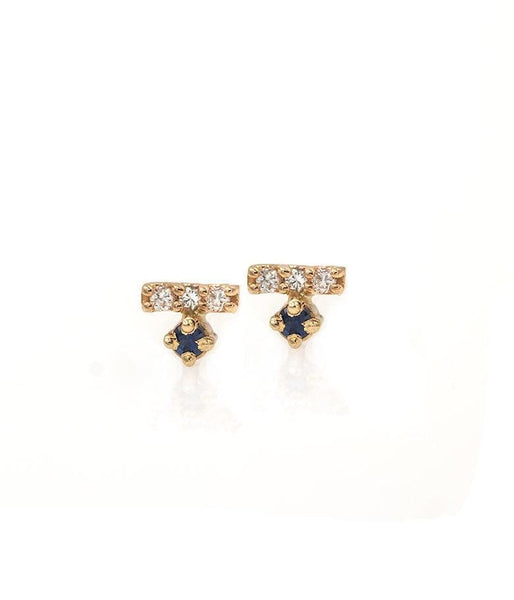 Diamond Bar with Blue Sapphire Studs