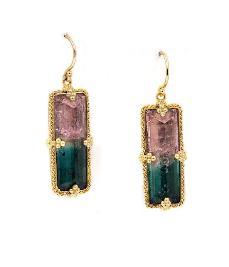 18k Bicolor Tourmaline Drop Earrings