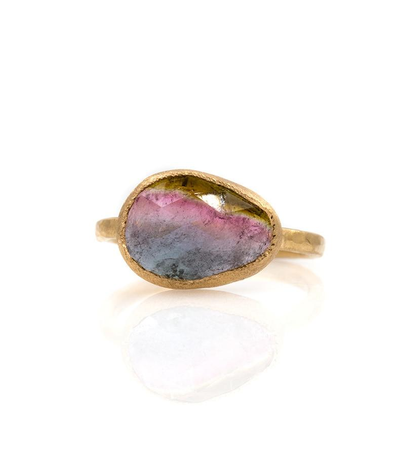 18k Tri Color Pear Tourmaline Ring