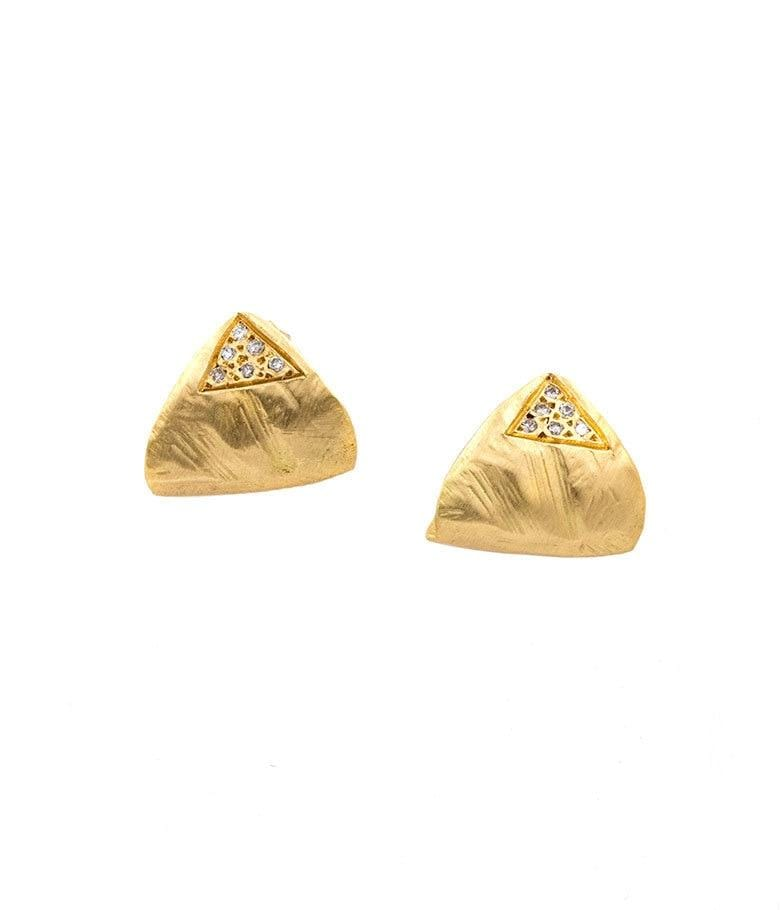 18k Gold Folded Triangle Studs