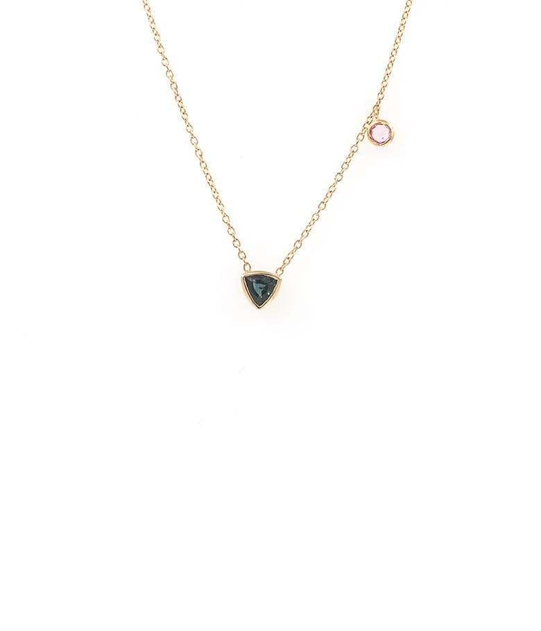 Blue and Pink Sapphire Charm Necklace