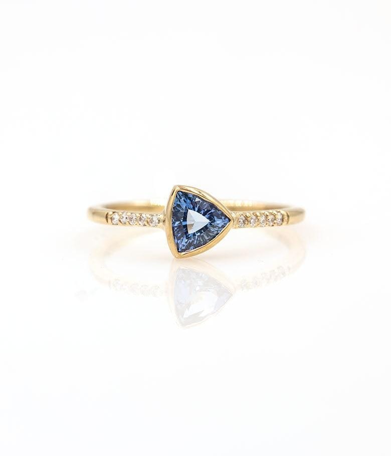 Trillion Sapphire with Pave Diamonds Ring