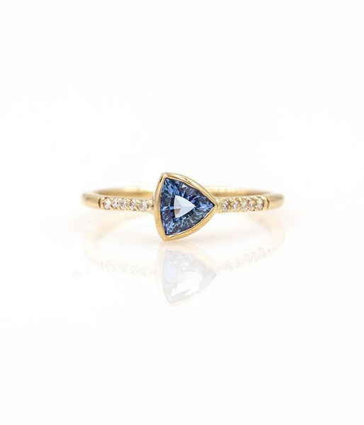 Trillion Sapphire with Pave Diamonds Ring - LoveAudryRose.com