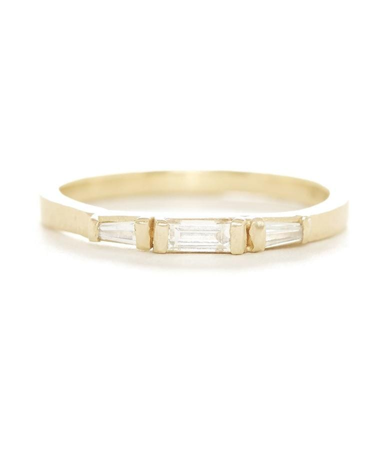 18k Diamond Baguette Triple  Band