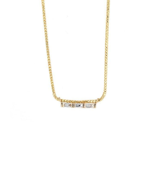 3 Baguette Diamond Necklace - LoveAudryRose.com