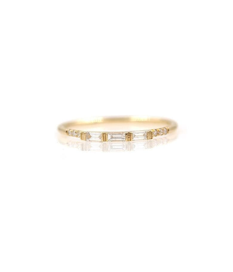 Triple Baguette and Pave Diamond Band