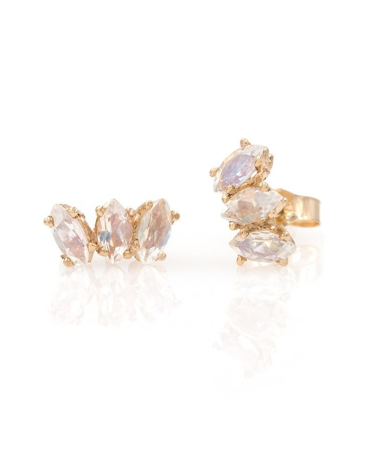 Marquise moonstone studs