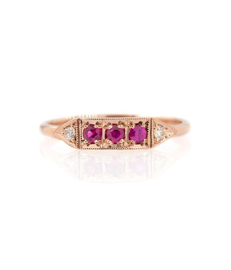 Triple Ruby Champagne diamond Band