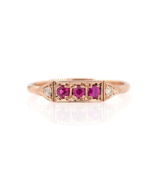 Triple Ruby Champagne diamond Band - LoveAudryRose.com