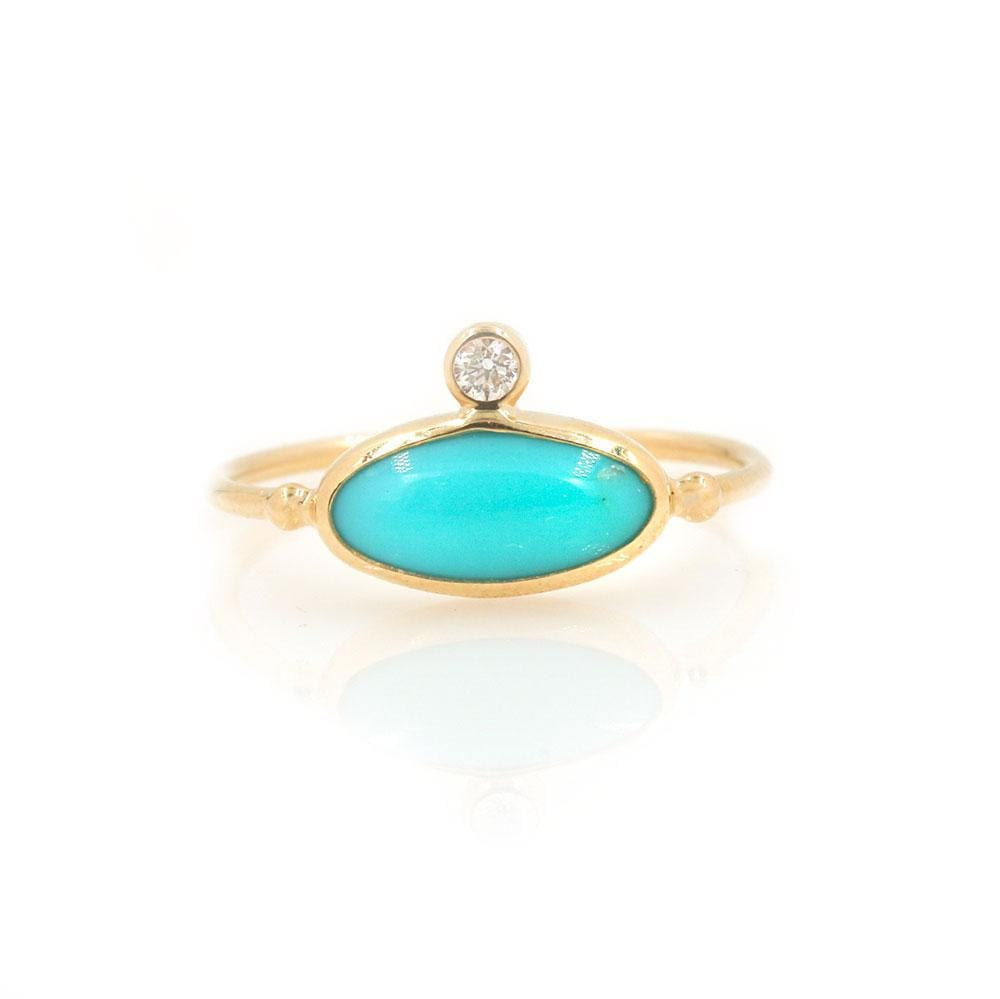 Turquoise Oval Diamond Ring