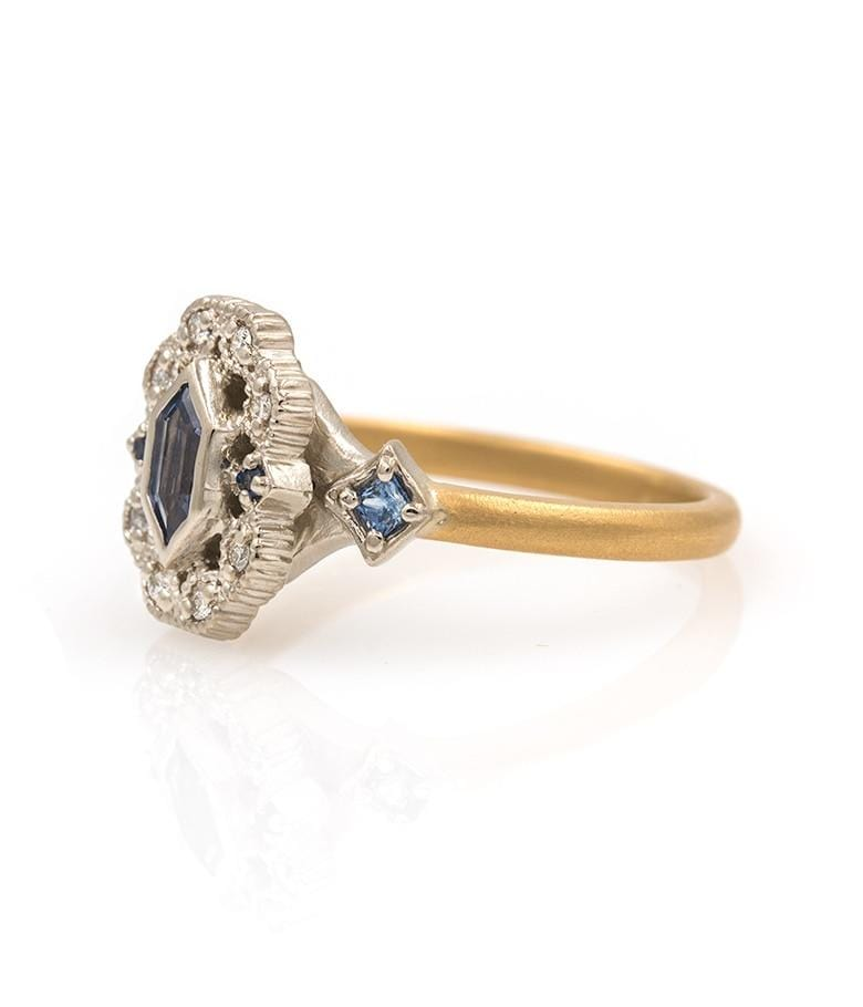18k Two Toned Sapphire Ring