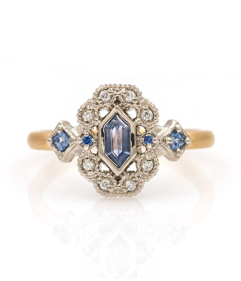 18k Two Toned Sapphire Ring - LoveAudryRose.com