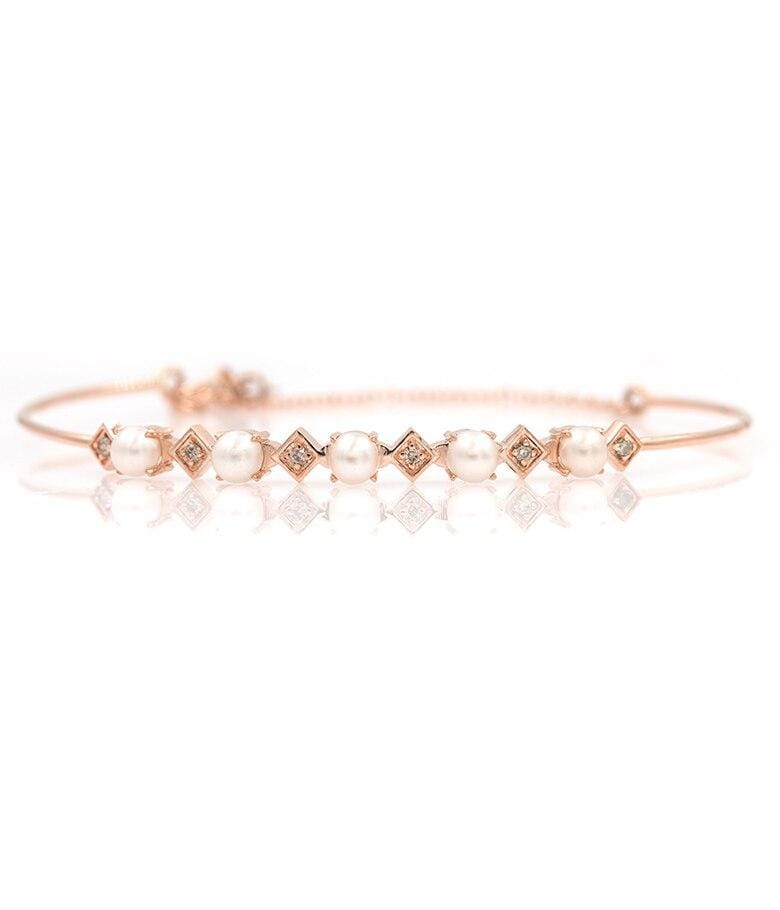 Rose Gold Pearl Diamond Bracelet - LoveAudryRose.com