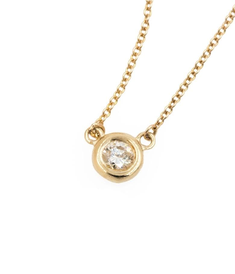White Diamond Bezel Necklace - LoveAudryRose.com