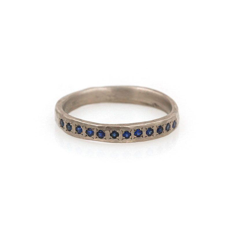 18k Blue Sapphire Pave Band
