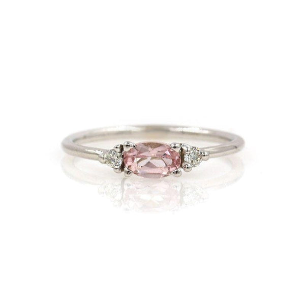 Morganite with Side Diamonds Ring