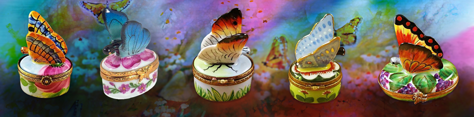 Butterfly Limoges Boxes Butterflies Porcelain Figurines Gifts