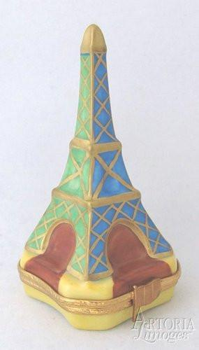 Eiffel Tower: Blue & Green Limoges Boxes - Limoges Boxes Porcelain Figurines