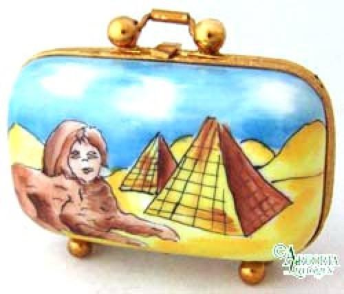 Egypt Travel Suitcase Limoges Boxes - Limoges Boxes Porcelain Figurines