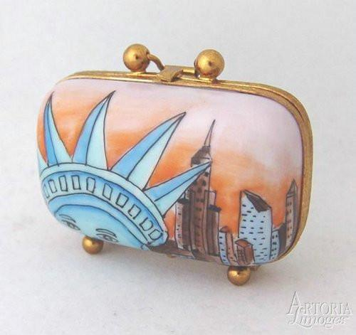 New York Travel Suitcase Limoges Boxes - Limoges Boxes Porcelain Figurines
