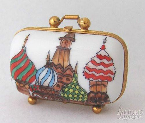 Russia Travel Suitcase Limoges Boxes - Limoges Boxes Porcelain Figurines