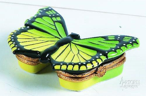 Green/Yellow Butterfly Limoges Boxes Limoges Boxes Porcelain Figurines Collectibles Gifts