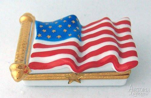USA Flag With Gold Stars Limoges Boxes - Limoges Boxes Porcelain Figurines