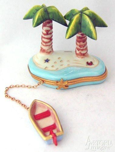 Palm Trees With Row Boat Limoges Boxes - Limoges Boxes Porcelain Figurines