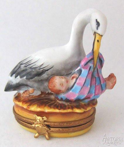 Stork With Baby-baby stork w baby bird-Artoria-Limoges Box Boutique