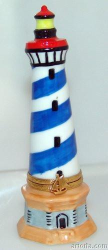 Lighthouse: Blue and White-ocean lighthouse travel-Artoria-Limoges Box Boutique