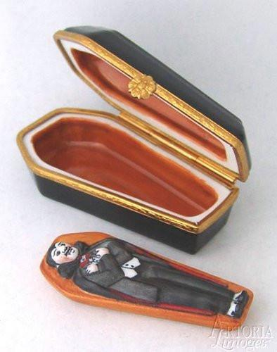 Coffin with Vampire Limoges Boxes - Limoges Boxes Porcelain Figurines