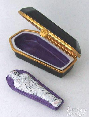 Coffin with Mummy Limoges Boxes - Limoges Boxes Porcelain Figurines