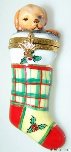 Puppy in Christmas Stocking-christmas dog-Artoria-Limoges Box Boutique