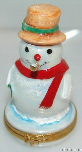 Snowman w/gold pipe-christmas snowman-Artoria-Limoges Box Boutique