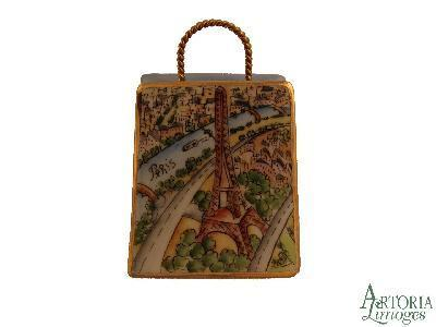 Eiffel Tower Modern Bag Limoges Boxes - Limoges Boxes Porcelain Figurines