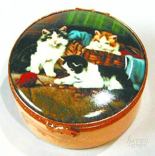 Set of 4 decal boxes w/cats-cat-Artoria-Limoges Box Boutique