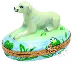 Labrador Lab Retriever: Yellow Limoges Boxes - Limoges Boxes Porcelain Figurines