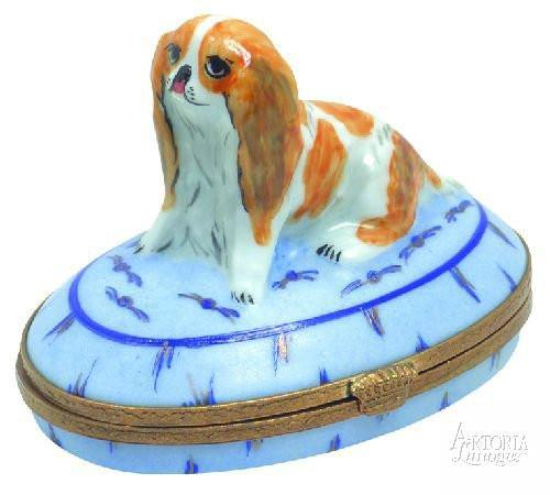 King Charles Spaniel Dog Limoges Boxes Limoges Boxes Porcelain Figurines Collectibles Gifts