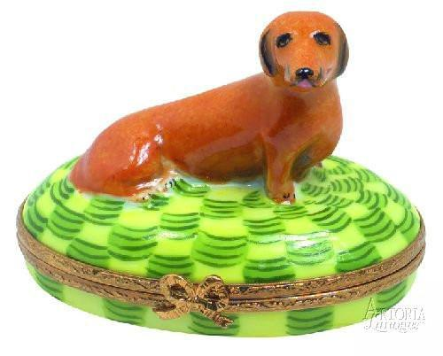 Dachshund: Brown Dog Limoges Boxes - Limoges Boxes Porcelain Figurines